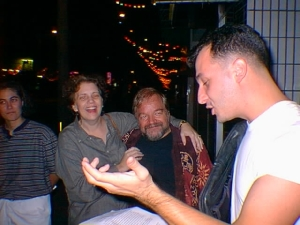 The readings extended past the Open Mic meetings in the Gate Two Street Bar. Here's Mike reading outside The Jet.